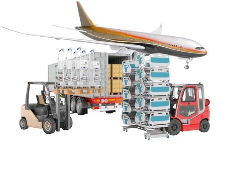 3d rendering concept of transporting an airplane from plane to truck of medical goods and artificial ventilation apparatus for the lungs on white background no shadow