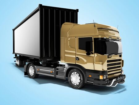 3D rendering brown road freight dumper with black semi trailer front view on blue background with shadow