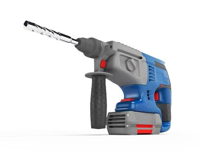 3d rendering of blue electric drill with gray accents on white background with shadow
