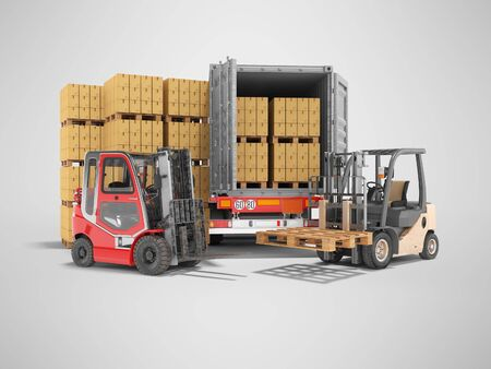 3d rendering group of forklift truck loading boxes on pallets into truck on gray background with shadow
