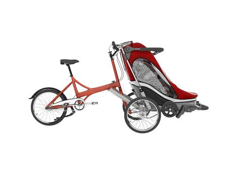 3d rendering of red bicycle with teenage stroller front side view on white background no shadow