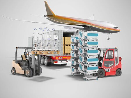 3d rendering concept of transporting an airplane from plane to truck of medical goods and artificial ventilation apparatus for the lungs on gray background with shadow Stock Photo