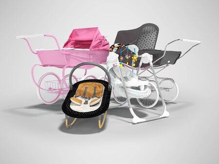 3d rendering concept set for sleeping baby, baby carriage pink and black hanging bed on gray background with shadow