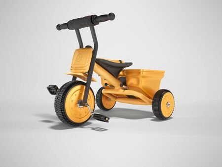 3D rendering orange childrens tricycle for child left view on gray background with shadow Stok Fotoğraf