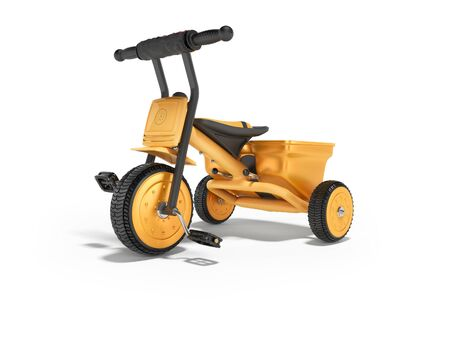 3D rendering orange childrens tricycle for child left view on white background with shadow