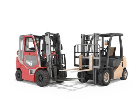 3d rendering of group of forklift trucks for warehouse on white background with shadow