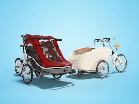 3D rendering set of an adult bicycle with stroller for children with boardcloth on blue background with shadow Фото со стока