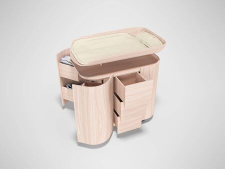 3d rendering of changing table with wood transformer against gray background with shadow