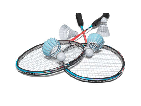 3d rendering game set of badminton rackets with adult shuttlecocks on white background with shadow