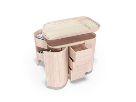 3d rendering of changing table with wood transformer against white background with shadow