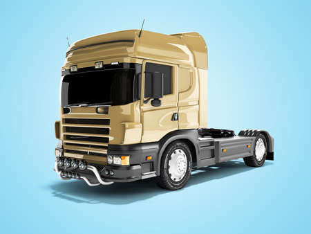 3d rendering brown road dump truck isolated on blue background with shadow Reklamní fotografie