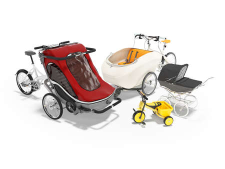 3D rendering set of an adult bicycle with stroller for children on white background with shadow