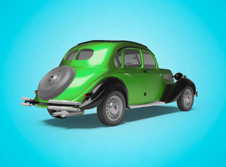 3d rendering of classic green passenger car on blue background with shadow back view