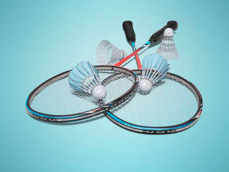 3d rendering game set of badminton rackets with adult shuttlecocks on blue background with shadow