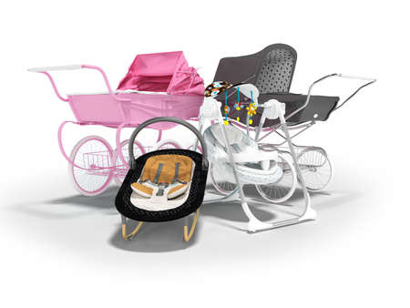 3d rendering concept set for sleeping baby, baby carriage pink and black hanging bed on white background with shadow
