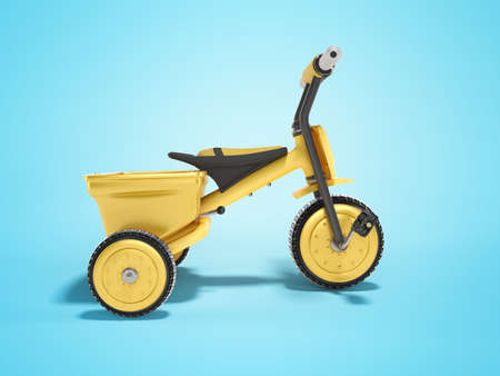 3D rendering yellow tricycle for child side view on blue background with shadow