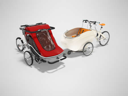 3D rendering set of white adult bicycle with stroller for children of an open type on gray background with shadow Stok Fotoğraf