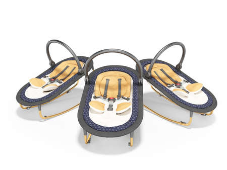3d rendering group of portable cots for baby white background with shadow 版權商用圖片