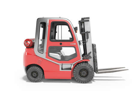 3d rendering red side view gas forklift for warehouse side view on white background with shadow