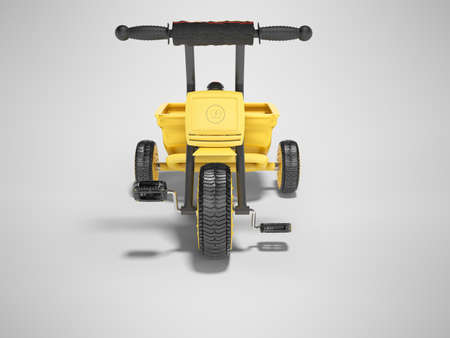 3D rendering yellow tricycle for child with trunk front view on gray background with shadow