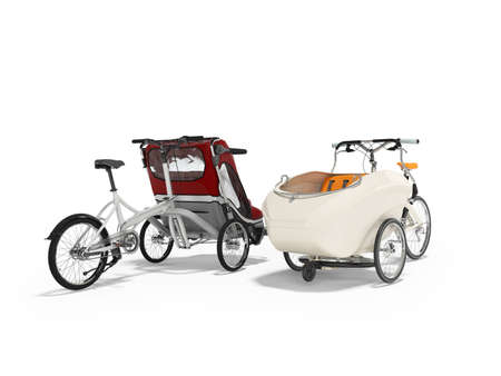 3d rendering set of white adult bicycle with stroller for children with an open top and closed top on white background with shadow Stok Fotoğraf