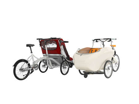 3d rendering set of white adult bicycle with stroller for children with an open top and closed top on white background no shadow