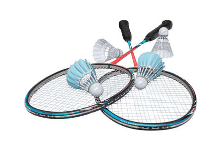 3d rendering game set of badminton rackets with adult shuttlecocks on white background no shadow