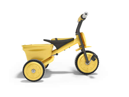 3D rendering yellow tricycle for child side view on white background with shadow Stok Fotoğraf