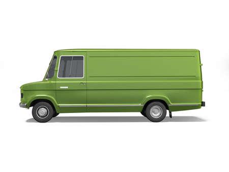 3d rendering green cargo minivan on white background with shadow Standard-Bild