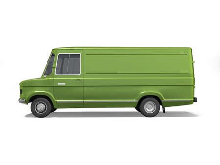 3d rendering green cargo minivan on white background with shadow Stock fotó