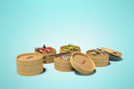 Dim Sum chinese dish concept isolated 3D rendering on orange background with shadow