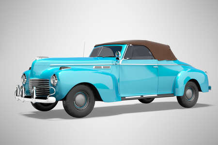 3d rendering blue classic convertible leather car isolated on gray background with shadow
