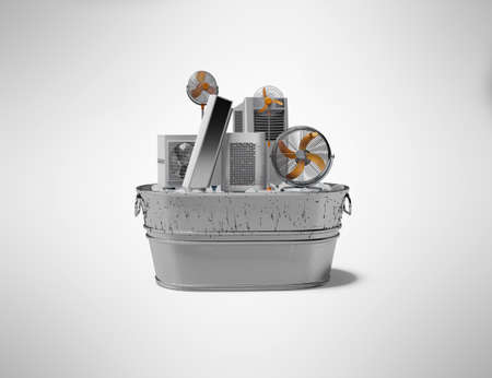 3d rendering concept group of refrigeration air conditioning appliances in ice bucket isolated on gray background with shadow