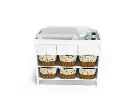 3D rendering wooden changing table with baskets front view white background with shadow 写真素材