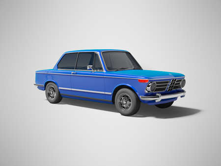 3D rendering blue classic car with tinted windows on gray background with shadow