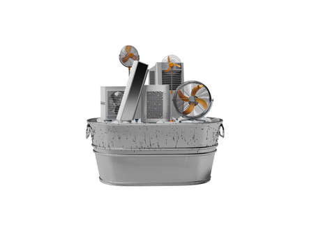 3d rendering concept group of refrigeration air conditioning appliances in ice bucket isolated on white background no shadow