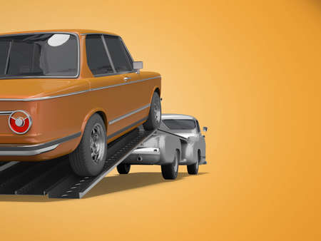 3d rendering concept of loading car on tow truck isolated rear view on orange background with shadow 写真素材