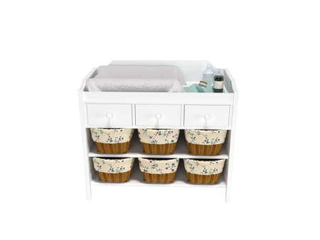 3D rendering wooden changing table with baskets front view white background no shadow