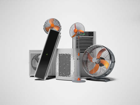 3D rendering concept of cooling in heat ventilators and air conditioners against gray background with shadow 写真素材