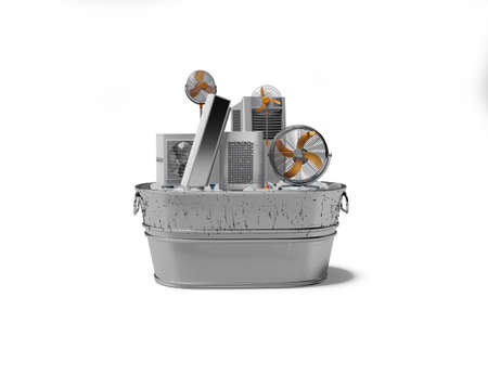 3d rendering concept group of refrigeration air conditioning appliances in ice bucket isolated on white background with shadow