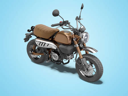 3d rendering teenage motorcycle isolated on blue background with shadow 写真素材