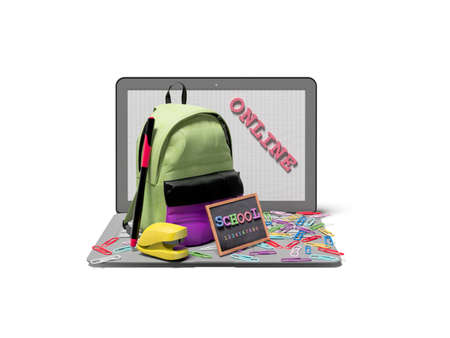 3d rendering concept of online learning at school on white background with shadow