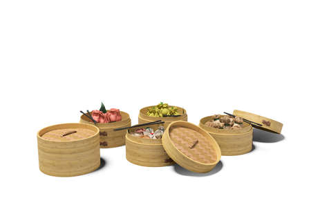 Dim Sum chinese dish concept isolated 3D rendering on orange background with shadow 写真素材