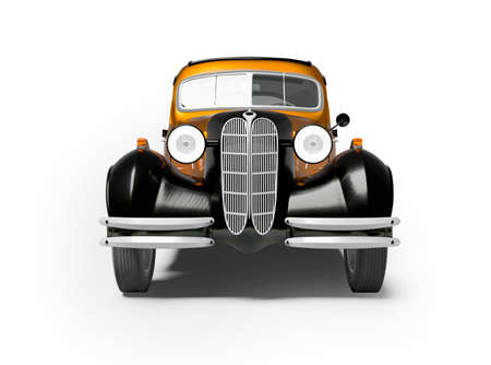 3d rendering of retro orange car on white background with shadow