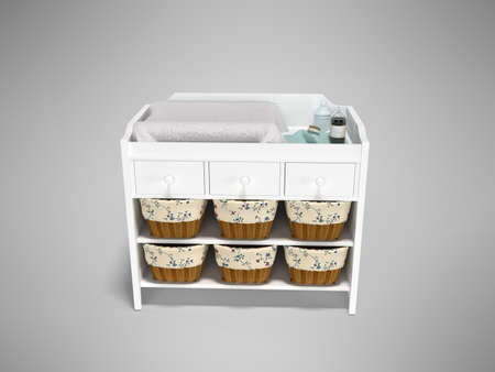 3D rendering wooden changing table with baskets front view gray background with shadow