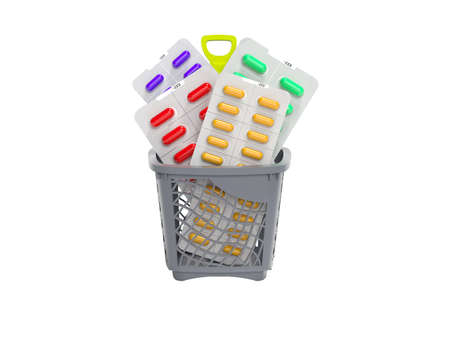 3d rendering concept vitamins in capsules in basket on white background no shadow
