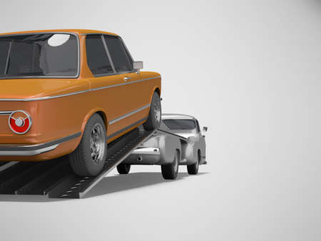 3d rendering concept of loading car on tow truck isolated rear view on gray background with shadow 写真素材