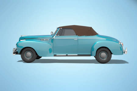 3d rendering blue classic convertible leather car side view isolated on blue background with shadow