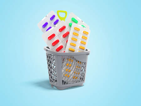 3d rendering concept vitamins in pills in basket on blue background with shadow