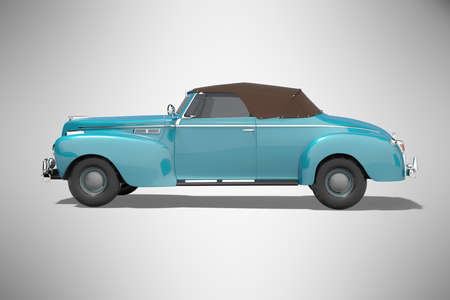 3d rendering blue classic convertible leather car side view isolated on gray background with shadow